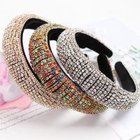 Arc-en-strass rembourrées Bandeaux pour les femmes Filles luxe Thick Full Diamond éponge Bandeaux femmes Cristal Accessoires cheveux CX200714