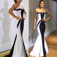 Classique noir et blanc sirène robes de soirée chérie Zipper Retour longue demoiselle d'honneur mariée robe de bal