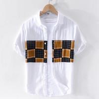 Matching Homens verão camiseta de manga curta Cor Branca T para homens Moda Retro shirt dos homens M-3XL