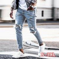 Jeans pour hommes Skinny Hip Hop Hop Cool Streetwear Broderie Broderie Patch Hole déchiré Zipper Slim Mens Vêtements Crayon Homme
