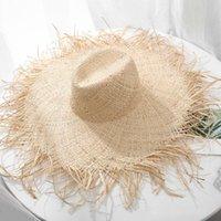 Naturel Grand Large chapeau de disquette Brim jazz raphia Chapeau de paille d'été Femmes Fringe plage Cap main Weave Chapeau de soleil en gros Y200619