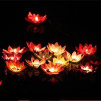 LED Lotus lampe colorée changé flottant Piscine d'eau Souhaitant Lanterne bougie sans flamme fleur de Lotus Lampes Pour Party Decoration BH2926 BC