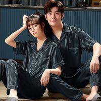 Ropa de dormir para hombres Satén Rayas de noche 2 unids Pijamas Set Lovers Kimono Vestido Sedoso Hombre Camisón Pijamas Casual Hogar Ropa Albornoz