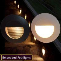 Açık / Kapalı 86x86mm Yuvarlak / Kare Yeraltı Lambası Su geçirmez Merdiven Işık Duvar Gömülü Aydınlatma Jumbo Footlights