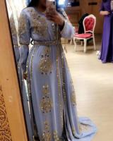 Dubai Kaftan Abaya Robes de soirée Taille Plus perles en cristal manches longues robes de soirée étage longueur robe de bal Robe de festa