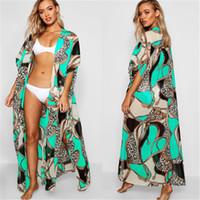 FITSHINLING Bohemian Summer Bikini Beach Couverture de maillots de bain Vacances de maillots de bain Big Taille Imprimer Long Cardigan Kimono Green Sexy Cover-Ups Sexy