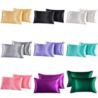 Emulación de raso de seda funda de almohada 20 x 26 pulgadas color sólido funda de almohada de seda del hielo del verano funda de almohada Ropa de cama Supplie