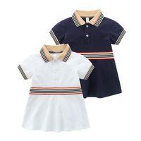 어린이 디자이너 드레스 소녀 스트라이프 옷깃 짧은 소매 공주 드레스 여름 드레스 2020 새로운 아이 코튼 프릴 A 라인 드레스 S406
