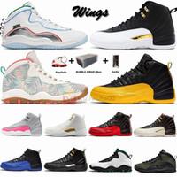 Jumpman Büyük Boy 13 Sneakers 12s Wings FIBA Gribi Oyunu CNY 12 Erkek Basketbol Ayakkabı 10s 10 Kamuflaj Seattle Woodland ile Kutusu Çorap Anahtarlık