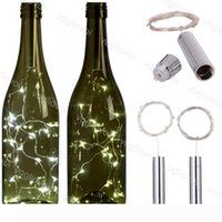 LED Strings Holiday Silver 1M 2M LED Wine Bottle Lights Battery Powered Cork Shape Glass Bottle Stopper Lamp Christmas Garlands Decor EUB