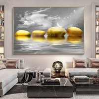 Moderne Minimaliste Paysage Prints Lake et Pierres d'affiche de mur d'or Pierre Art Photos pour Salon Home Decor (Frame No)
