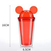 Circle Mouse Ear Coppa Bilayer copertura trasparente tazza di plastica rossa nera Pipetta circolare Bocca Tumbler due scrivanie ad alta capacità termica 9 5il C2