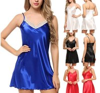 Lace profundo decote em V Nightdress Sexy Lingerie Nightgowns Pijamas Night Dress Mulheres mangas Pijamas Faux Silk Satin Nightshirt