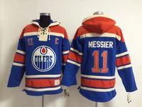 Üst kalite ! Edmonton Oilmers Eski Zaman Hokey Formaları 11 Mark Messi Mavi Turuncu Hoodie Kazak Spor Tişörtü Kış Ceket