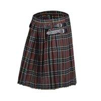 Shorts masculinos 2021 scottish mens kilt tradicional cinto xadrez plissado cadeia bilateral marrom gótico punk tartan calças