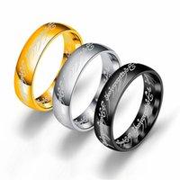 여성 남성 영화 보석 ps0714의 반지 손가락 반지 6mm의 18K 골드 실버 블랙 매직 반지의 3 색 티타늄 스틸 호빗 주