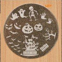 Хэллоуин дизайн Круглый нержавеющей стали кусачки для ногтей Планшеты Hehe60 серии Nail Art изображения Konad печати Stamp Штамповка Маникюр шаблона AWAK #