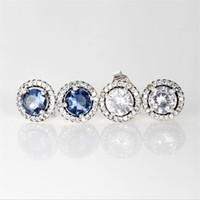 Новые дамы Роскошные Мода Ювелирные Изделия Дизайнер Серьги Пандора Стерлингового Серебра 925 Синий и Белый 2 Цвет Кристалл Бриллианты Серьги для женщин