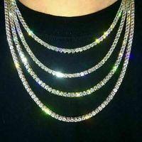 Iged Out التنس سلسلة حقيقية زركونيا الحجارة الفضة صف واحد الرجال النساء 3 ملليمتر 4 ملليمتر 5 ملليمتر الماس قلادة مجوهرات هدية لسور الحزب