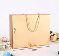 100PCS 31cmx26cmx8cm 대형 리본 속옷 포장 상자 SN1616과 색 종이 상자 포장 로프 스카프 의류와 골드 선물 상자