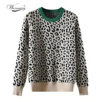 Autumn winter women sweaters leopard knitted pullovers long ...
