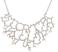 Biżuteria moda 2016 Nowa Vintage Osobowość Metalowe Koral Hollow Gałęzie Oświadczenie Naszyjniki Wisiorki Dla Kobiet PS1086