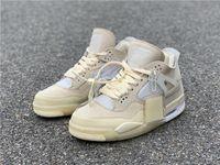 Com Box 4 Off Creme Vela Branca IV Homens Mulheres Muslin WMNS Space Jam 4s luxo designer calçados casuais Tamanho 36-47