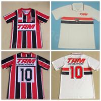 1993 1994 Fussball Vintage-Sao Paulo Retro-Jersey-Männer 10 Linhas Aéreas Rot Weiß brasilianischen Verein Camisas Fußball-Hemd Kits Custom Name Nummer