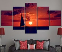 Home Decor modulare tela di canapa 5 elemento scenico La barca a vela Tramonto HD Natural Pittura Poster Canvas Pittura all'ingrosso