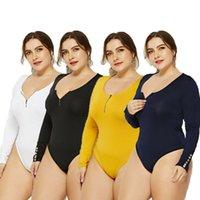 Kadın Tulumlar Tulum 2021 Varış Seksi Artı Boyutu Kadınlar Uzun Kollu Bodycon Bodysuit Beyaz Siyah Sıska Vücut Takımları Streç Fermuar Ladi