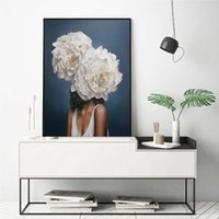 3 Panels Abstract Wall Art Prints Poster Fashion Woman Flowe...