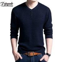 Fojaganto Мужчины свитер осени Сплошной цвет Свитера Мужские Повседневный пуловер Мужской Slim Fit с длинным рукавом свитера