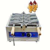 Ticari 3 Adet Elektrikli Açık Ağız Dondurma Taiyaki Makinesi Balık Şekli Waffle Koni Makinesi Makinesi
