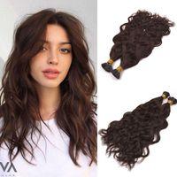 Natural Onda de queratina I ponta Extensões de cabelo 100% Virgem Remy I ponta 100g do cabelo Castanho escuro Cor do cabelo da vara