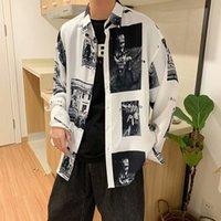 E-BAIHUI 2021 Colorblock Tide Brand Maniche a maniche lunghe Camicia di Turn-Down Poliestere Top Boys Primavera Hong Kong Style Style BF BF Top Ins Trend Giacca selvatica TG09