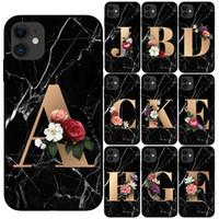 Özel Harf Özelleştirilmiş İlk Mermer Çiçekler Siyah Silikon Telefon Kılıfı Kapak iPhone 11 Pro Max X XS Max XR 6 6S 7 8 Artı