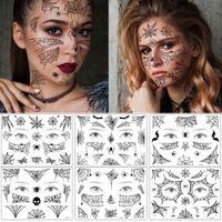 Halloween-Tag Gesichts-Make-up-Körpertattoo-gefälschte schwarze Spinne-Netz-Fledermaus dunkle Art dämmerung Funning-Design wasserdicht Temporat Tattoo-Aufkleber für Mädchen