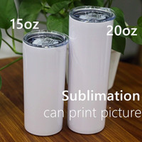 DIY 15oz Sublimation Skinny Tumblers with Lid Double Wall Bl...