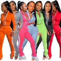 Frauen Solide Farbe Reflektierende Streifen 2 Zwei Stück Trainingsanzüge Reißverschluss Crop Top Leggings Hosen Outfits Set Sportsanzug Fall Plus Größe Kleidung