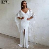 April-weiße Spitze Long-arm-Brautkleid Vintage Style Side Split Brautkleid 2020 vestidos de novia Backless Brautkleider