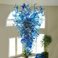 Decoración de la casa Colgante Lámparas Colgando Araña Iluminación Azul Color Cadena de vidrio Colgante-Lámparas LED Lights Fixtures G9 96 pulgadas High Modern Chandeliers-L