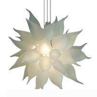 % 100 İtalyan Beyaz Avizeler Çiçek Aydınlatma Modern Kristal Murano Cam Tasarımı Avrupa Stili Zincir Avize kolye Lambalar