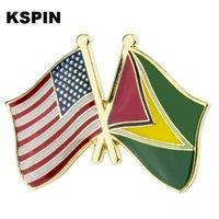 U.S.A Guyana Friendship Flag Badge Flag Brooch National Flag Lapel Pin International Travel Pins