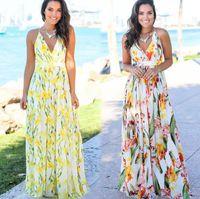 11 stili estate del progettista delle donne Abiti Moda sexy scollo a V stampa floreale Boho Beach Abito senza maniche Bretelle Gonne Vestiti S-2XL all'ingrosso