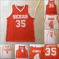 NCAA 텍사스 롱혼 스티치 대학 농구 35 Kevin Durant 4 Mohamed Bamba 화이트 오렌지 남성 유니폼
