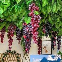 اصطناعية الفاكهة العنب العنقودية 8 ألوان وهمية الفواكه الحرفية لوحة أخضر أرجواني أحمر أسود لحفل زفاف المنزل والحديقة البارات والديكور