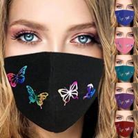 再利用可能な洗えるフェイスマスク夏のマスクデザイナーの換気防塵防塵の調節可能なマスクバタフライプリントマスクEEA1852