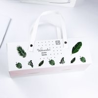 Green Leaves cottura Carton Cookies confezioni regalo scatola Mooncake Macaron torta Packaging Tote