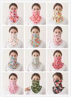 미국 주식 패션 승마 아이스 실크 페이스 마스크 패션 인쇄 여성 재사용 입 다채로운 선 스크린 스카프 세척 마스크 FY6135 마스크