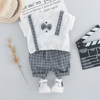 HYLKIDHUOSE 2020 Summer Toddler Infant Clothes Suits Baby Boys Clothing Sets Shirt Strap Shorts Kids Children Casual Costume